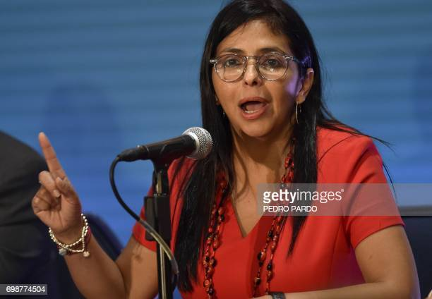 Venezuelan Foreign Minister Delcy Rodriguez speaks during a press conference in the framework of the 47th General Assembly of the Organization of...