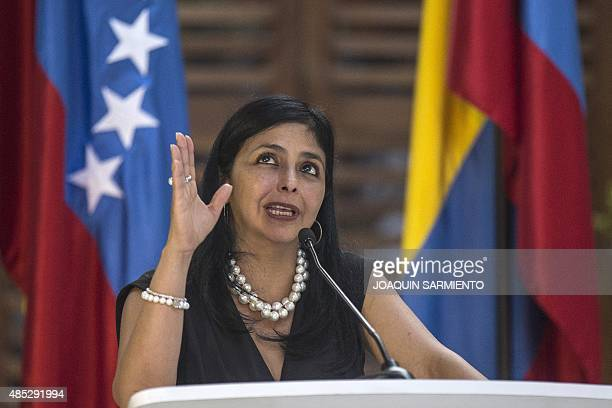 Venezuelan Foreign Minister Delcy Rodriguez speaks during a press conference next to her Colombian counterpart Maria Angela Holguin after a meeting...