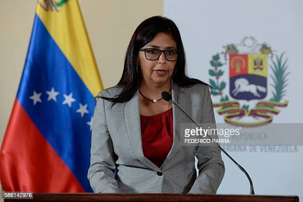 Venezuelan Foreign Minister Delcy Rodriguez speaks during a press conference before reading a statement about Mercosur in Caracas on August 5 2016 /...