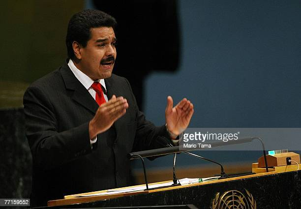 Venezuelan Foreign Minister Nicolas Maduro Moros addresses the 62nd session of the United Nations General Assembly at UN headquarters October 2 2007...