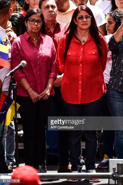 Venezuelan former Minister of Foreign Affairs Delcy Rodriguez and Venezuelan First Lady Cilia Flores attend a rally in Caracas on July 9 2017...