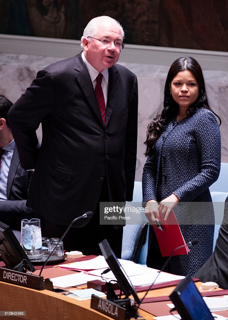 Venezuelan former President Hugo Chavez daughter, Ambassador Maria Gabriela Chavez (right) during the Security Council adoption of the resolution 2268 (2016), endorsing the cessation of hostilities in Syria today at the UN Headquarters in New York.