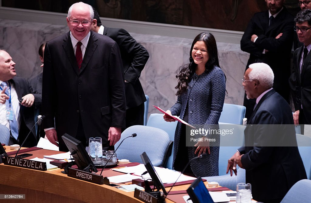 Venezuelan former President Hugo Chavez daughter, Ambassador Maria Gabriela Chavez (center) during the Security Council adoption of the resolution 2268 (2016), endorsing the cessation of hostilities in Syria today at the UN Headquarters in New York.