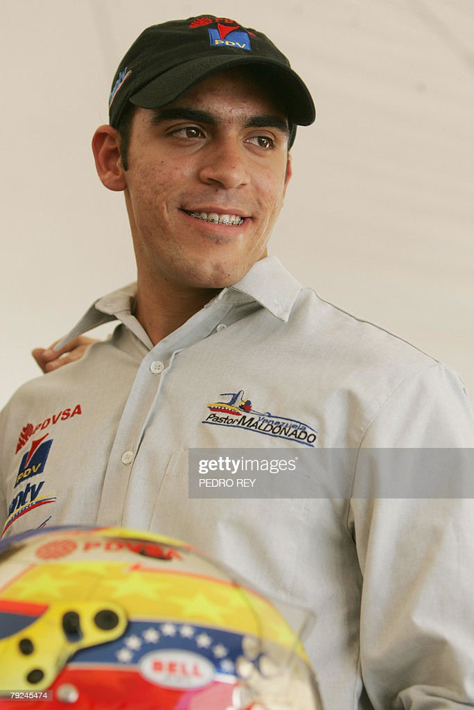 Venezuelan GP2 Series driver Pastor Maldonado poses for the media during a press conference in Caracas, on January 25th, 2008. Maldonado spoke about the possibilities his new team, Piquet Sports, will offer him in the 2008 season. AFP PHOTO/Pedro REY