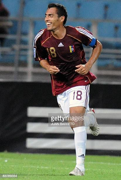 Venezuelan Juan Arango celebrates his goal against Ecuador on October 15 during their FIFA World Cup South Africa 2010 qualifer match at the Jose...