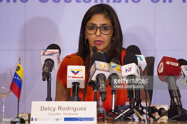 Venezuelan Minister of Foreign Affairs Delcy Rodriguez participates in the Organization of American States 46th General Ordinary Assembly in Santo...
