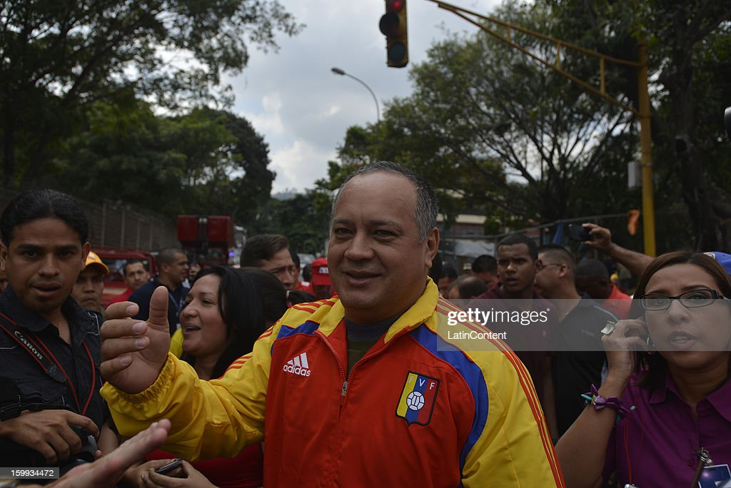 Venezuelan National Assembly President <a gi-track='captionPersonalityLinkClicked' href=/galleries/search?phrase=Diosdado+Cabello&family=editorial&specificpeople=3799005 ng-click='$event.stopPropagation()'>Diosdado Cabello</a> attends a rally in celebration of the 56th anniversary of the overthrow of the last dictatorship in the country and giving way to democracy on January 23, 2013 in Caracas, Venezuela.