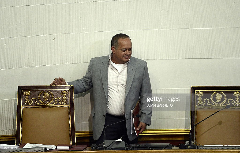 Venezuelan National Assembly president, Diosdado Cabello, is seen before a session in Caracas on January 8, 2013. Cabello announced on January 8, 2013, that due to health reasons, Venezuelan President Hugo Chavez will not be able to take the oath to be sworn in for a fourth term in office next January 10.