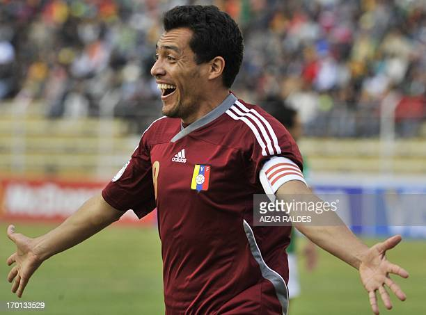 Venezuelan national football team Juan Arango celebrates his goal against Bolivia during the Brazil 2014 FIFA World Cup South American qualifier...