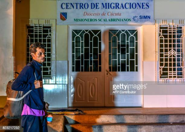 Venezuelan national Jose Florez waits to get food and shelter in front of the Migration Center in Cucuta North of the Santander department Colombia...