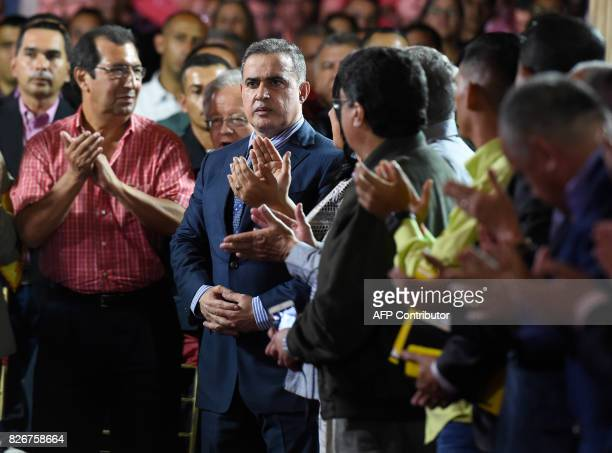 Venezuelan new Attorney General Tarek William Saab is seen during his swearing in ceremony before the Constituent Assembly in Caracas on August 5...