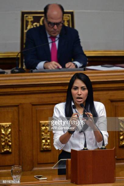 Venezuelan opposition deputy Delsa Solorzano speaks during a session of the Venezuelan National Assembly in Caracas on August 15 2017 Opponents of...