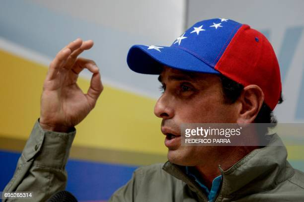 Venezuelan opposition leader and Miranda state governor Henrique Capriles offers a press conference in Caracas on June 12 2017 The Miranda state...