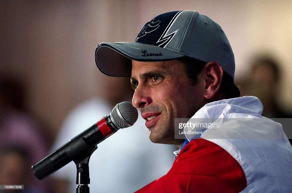 Venezuelan opposition leader Henrique Capriles attends a press conference on October 09, 2012 in Caracas, Venezuela. Capriles and Hugo Chavez ran for the presidency and Chavez won with 55.14% (8.062.056 votes) while Henrique Capriles obtained 44,24% (6.468.450 votes).