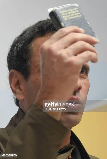 Venezuelan opposition leader Henrique Capriles offers a press conference in Caracas on May 19 2017 Capriles denounced that authorities confiscated...