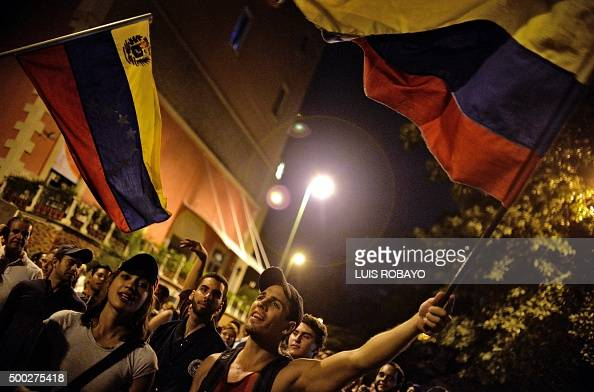 Venezuelan opposition supporters celebrate the results of the legislative election in Caracas on the early morning December 7 2015 Venezuela's...
