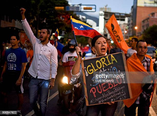 Venezuelan opposition supporters celebrate the results of the legislative election in Caracas on December 7 2015 Venezuela's jubilant opposition...