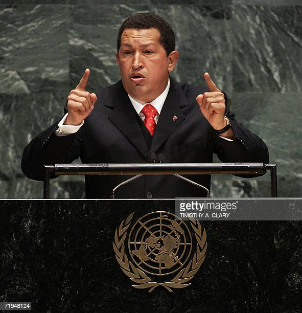 Venezuelan President Hugo Chavez addresses the 61st session of the United Nations General Assembly in New York 20 September 2006 In his speech Chavez...