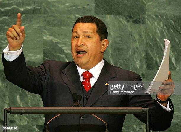 Venezuelan President Hugo Chavez addresses the United Nations General Assembly September 15 2005 in New York City World leaders gathered for the...