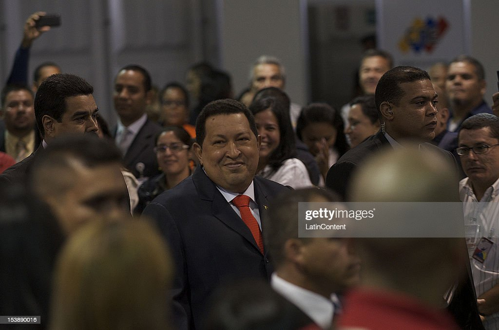 Venezuelan President Hugo Chavez arrives at the National Electoral Council to receive the credentials that accredit him as the new president for the period 2013 to 2019 on October 10, 2012 in Caracas, Venezuela. Chavez won the election with 8,136,637 votes (55.25%) against leader of Opposition Capriles who got 6,499,575 votes (44.13%).
