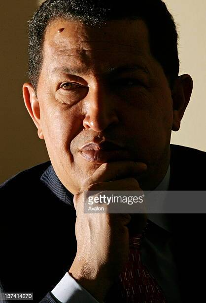 Venezuelan president Hugo Chavez at thew Savoy Hotel in London 15 May 2006