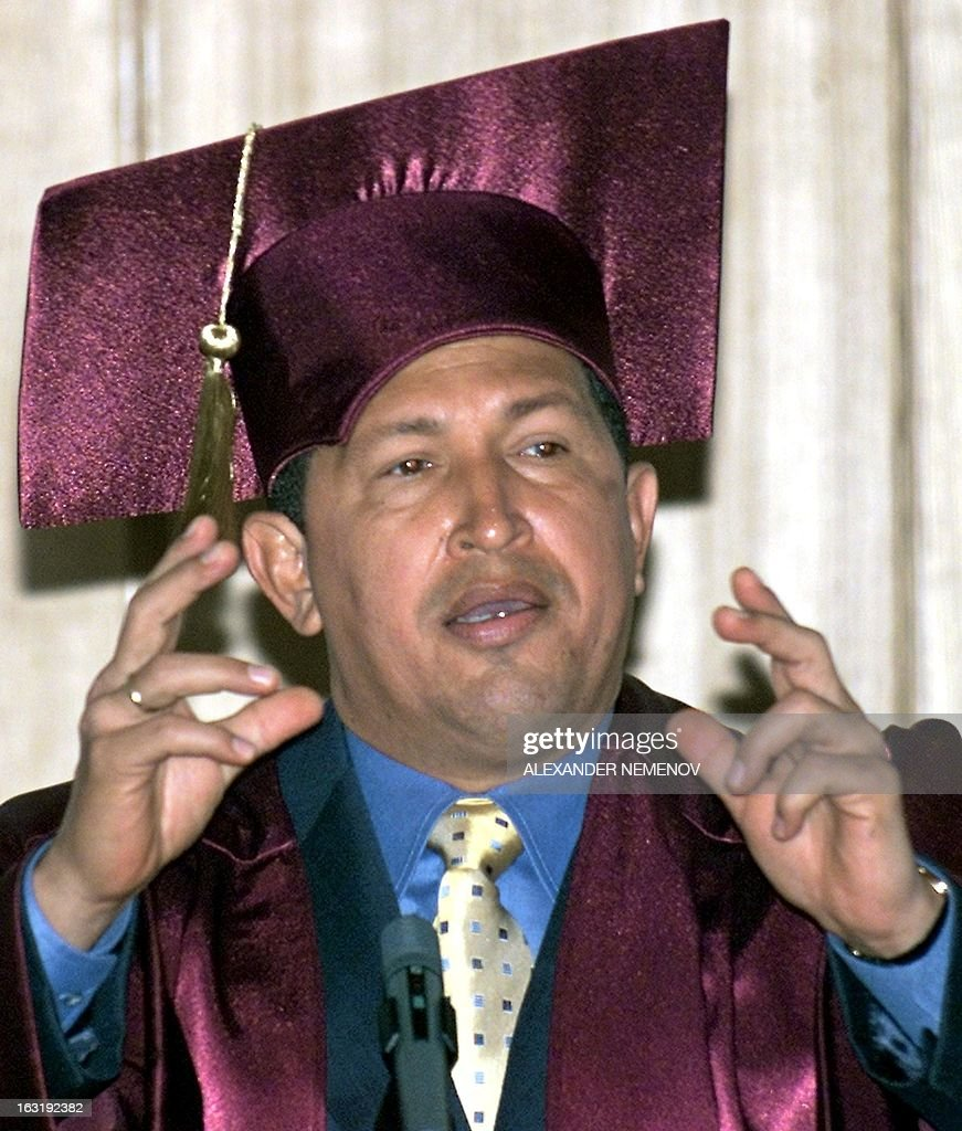 Venezuelan President Hugo Chavez delivers a speech 15 May 2001 before the Russian Foreign Ministry's Diplomatic Academy after being awarded an honorary doctor's degree in Moscow during his official four-day visit to Russia.