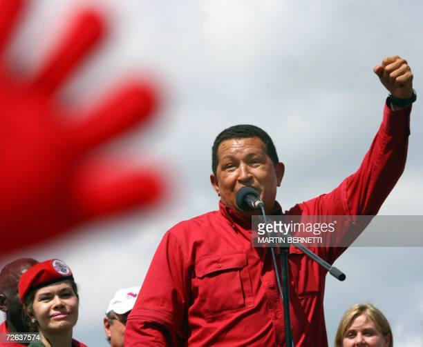 Venezuelan President Hugo Chavez delivers a speech during a political gathering in his hometown of Sabaneta some 400 km southwest of Caracas on...