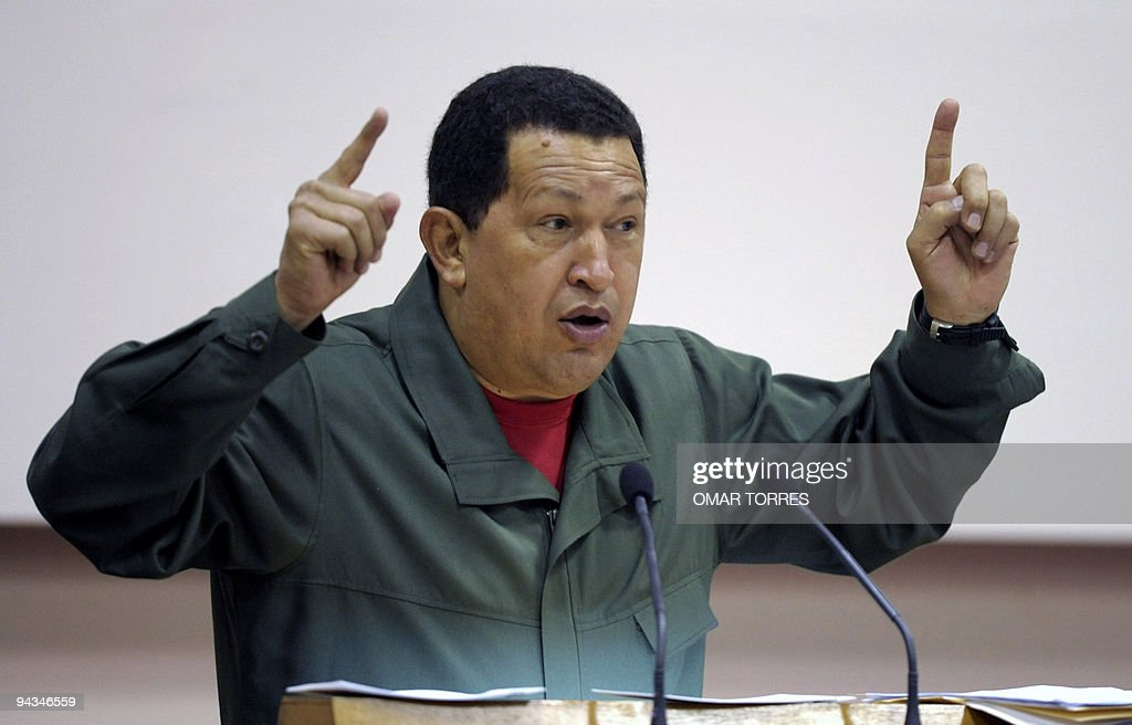 Venezuelan President <a gi-track='captionPersonalityLinkClicked' href=/galleries/search?phrase=Hugo+Chavez&family=editorial&specificpeople=171094 ng-click='$event.stopPropagation()'>Hugo Chavez</a> gestures as he delivers a speech during the Bolivarian Alliance for the Americas (ALBA) Summit in Havana, on December 12, 2009. Chavez met Saturday Cuban President Raul Castro, with whom he signed agreements worth millions.