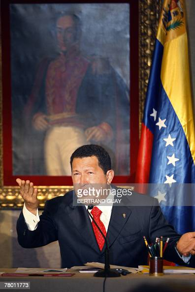 Venezuelan President Hugo Chavez gestures as he speaks during a press conference 20 November 2007 in Paris The Colombian rebel group FARC has...