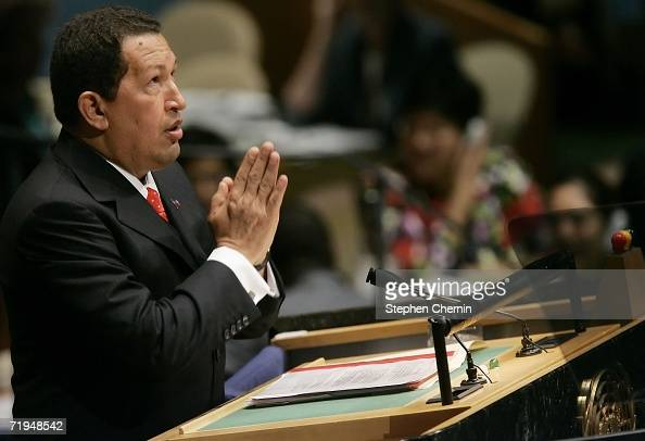 Venezuelan President Hugo Chavez gestures as he speaks during the 61st UN General Assembly session September 20 2006 at United Nations headquarters...
