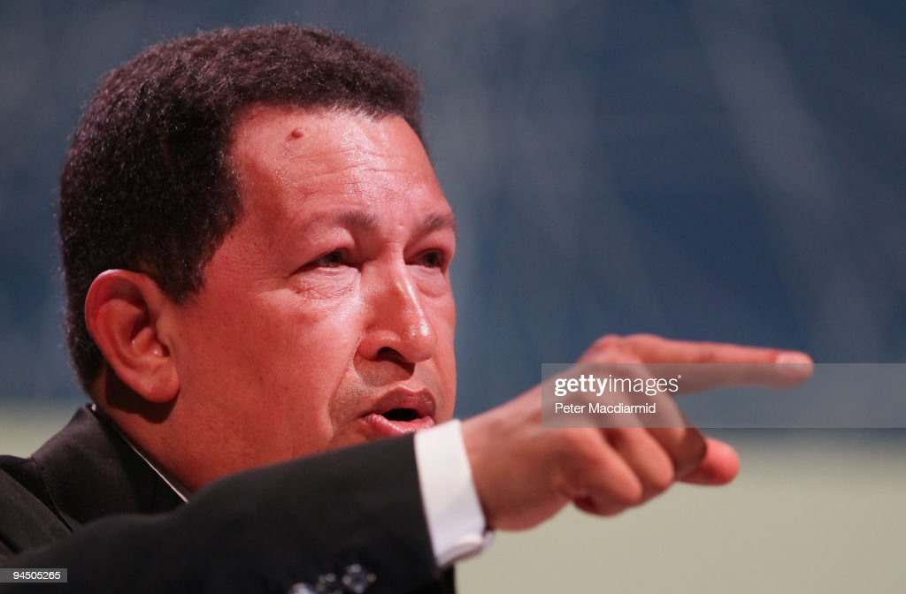 Venezuelan President Hugo Chavez gestures as he speaks to delegates at the Climate Change Conference on December 16, 2009 in Copenhagen, Denmark. Politicians and environmentalists are meeting for the United Nations Climate Change Conference 2009 that runs until December 18. Some of the participating nation's leaders will attend the last days of the summit.