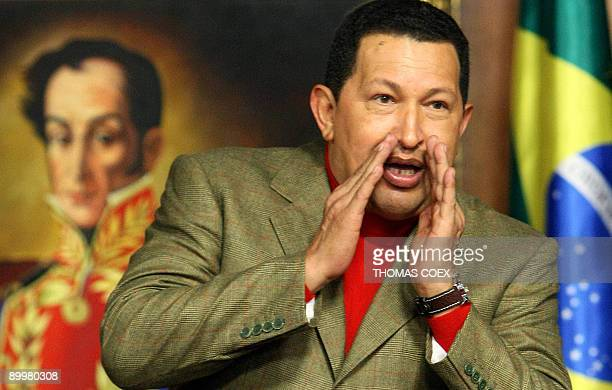 Venezuelan President Hugo Chavez gestures during a ceremony where he met with a Brazilian delegation at Miraflores presidential palace in Caracas on...