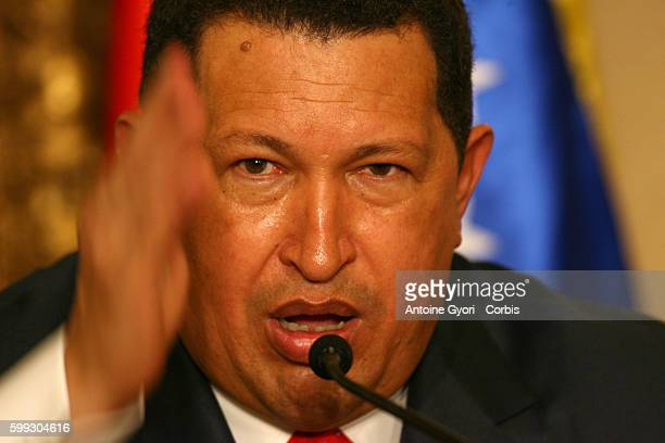 Venezuelan President Hugo Chavez gives a press conference during his visit in Paris Chavez said Colombian rebels have pledged to provide proof by the...