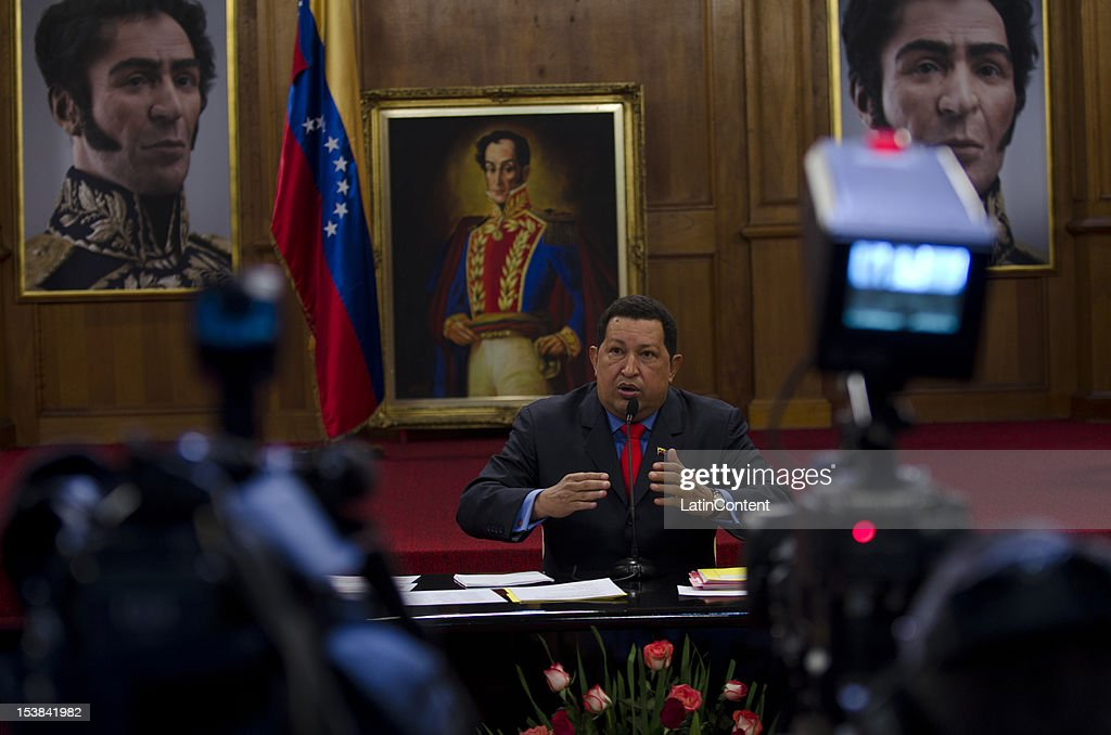 Venezuelan President Hugo Chavez gives his first press conference after winning the national elections for President during the period 2013-2019, on October 09, 2012 in Caracas, Venezuela. Chavez won with the 55.14% (8.062.056 votes) while Henrique Capriles obtained 44,24% (6.468.450 votes).