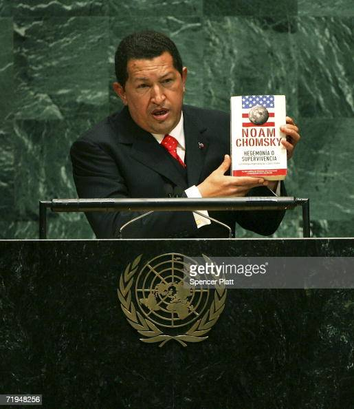 Venezuelan President Hugo Chavez holds up a book by Noam Chomsky 'Hegemony or Survival America's Quest for Global Dominance ' while addressing the...
