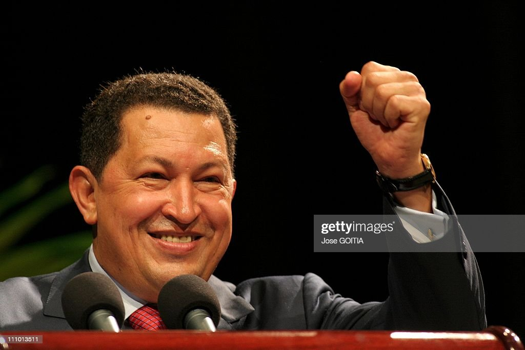 Venezuelan President <a gi-track='captionPersonalityLinkClicked' href=/galleries/search?phrase=Hugo+Chavez&family=editorial&specificpeople=171094 ng-click='$event.stopPropagation()'>Hugo Chavez</a> is seen during a meeting in Havana in Havana, Cuba on April 29th, 2005.
