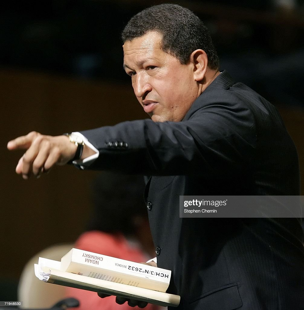 Venezuelan President Hugo Chavez points as he speaks during the 61st UN General Assembly session September 20, 2006 at United Nations headquarters in New York City. The annual conference at the UN comes at a time when the world community is considering sanctions against Iran and UN peacekeepers are stationed in nearly 20 countries.