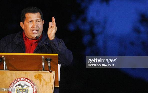 Venezuelan president Hugo Chavez speaks during a joint press conference with Colombian president Alvaro Uribe at Hato Grande presidential ranch in...