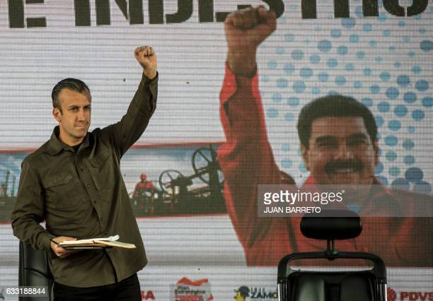 Venezuelan President Nicolas Maduro and his vicepresident Tareck El Aissami participate in a rally with workers of PDVSA stateowned oil company in...