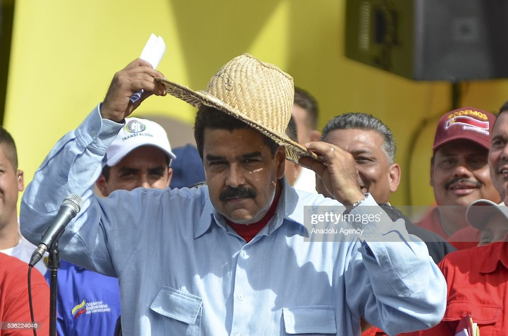Venezuelan President Nicolas Maduro attends a rally of transport workers who support the government in Caracas, Venezuela on May 31, 2016.