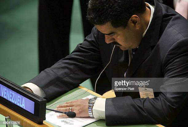Venezuelan President Nicolas Maduro attends the United Nations General Assembly at UN headquarters on September 28 2015 in New York City The ongoing...