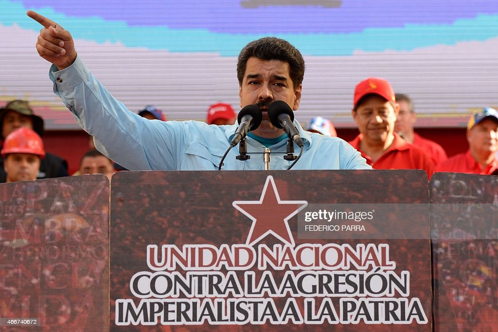 Venezuelan President <a gi-track='captionPersonalityLinkClicked' href=/galleries/search?phrase=Nicolas+Maduro&family=editorial&specificpeople=767093 ng-click='$event.stopPropagation()'>Nicolas Maduro</a> delivers a speech before supporters gathering outside the presidential palace in Caracas on March 18, 2015. Leaders from leftist Latin American regional bloc ALBA gathered Tuesday for a summit in Caracas, a show of support for Venezuela in its mounting standoff with the United States.