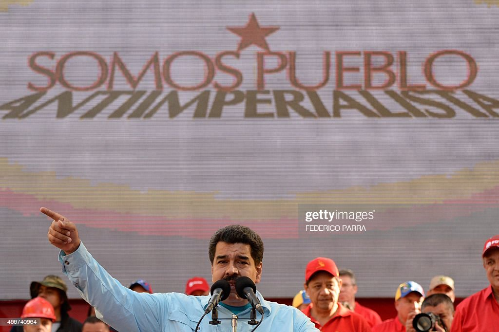 Venezuelan President <a gi-track='captionPersonalityLinkClicked' href=/galleries/search?phrase=Nicolas+Maduro&family=editorial&specificpeople=767093 ng-click='$event.stopPropagation()'>Nicolas Maduro</a> delivers a speech before supporters gathering outside the presidential palace, in Caracas on March 18, 2015. Leaders from leftist Latin American regional bloc ALBA gathered Tuesday for a summit in Caracas, a show of support for Venezuela in its mounting standoff with the United States.