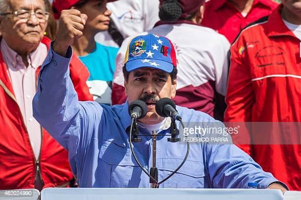 Venezuelan President Nicolas Maduro delivers a speech during a rally to commemorate the 57th anniversary of the end of Venezuelan dictator Marcos...