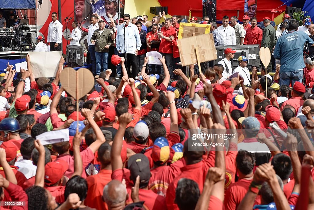 Venezuelan President Nicolas Maduro delivers a speech during a rally of transport workers who support the government in Caracas, Venezuela on May 31, 2016.