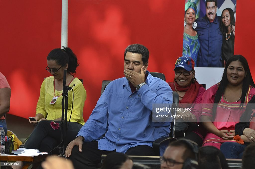 Venezuelan President Nicolas Maduro delivers a speech during women's march for peace at Miraflores Palace in Caracas, Venezuela on May 24, 2016.
