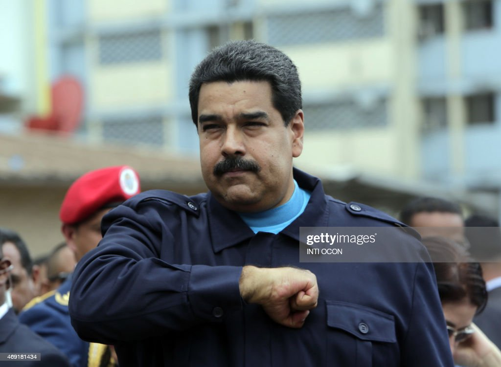 Venezuelan President Nicolas Maduro gestures after giving a speech during a visit at El Chorrillo neighborhood in Panama City on April 10, 2015. Regional leaders begin to arrive for a historic Summit of the Americas that will see the US and Cuban presidents sit face to face for the first time in decades.