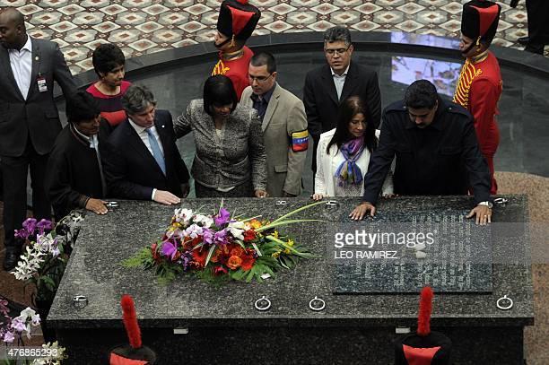 Venezuelan President Nicolas Maduro his wife Cilia Flores Venezuelan Foreign Minister Elias Jaua Venezuelan Vice President Jorge Arreaza Jamaica...