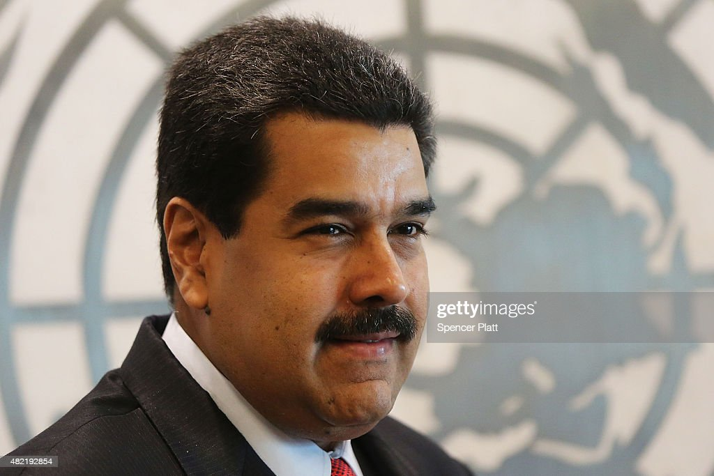 Venezuelan President <a gi-track='captionPersonalityLinkClicked' href=/galleries/search?phrase=Nicolas+Maduro&family=editorial&specificpeople=767093 ng-click='$event.stopPropagation()'>Nicolas Maduro</a> meets with UN chief Ban Ki-moon at the United Nations (UN) headquarters in New York on July 28, 2015 in New York City. Maduro is in New York to speak with the UN about his country's escalating border dispute with Guyana.