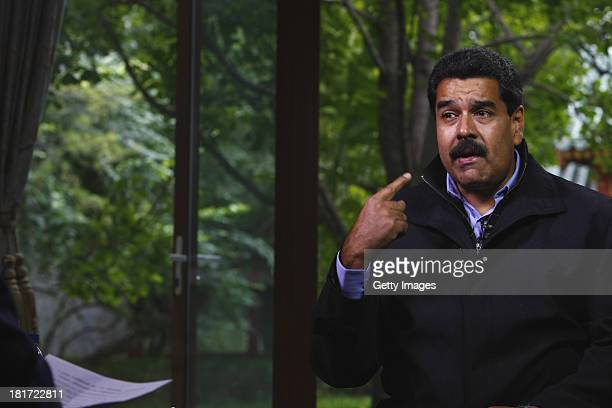 Venezuelan President Nicolas Maduro Moros is interviewed by Chinatoday Chinadaily and CCTV at Diaoyutai State Guesthouse on September 23 2013 in...
